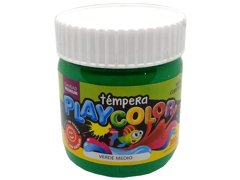 TEMPERA VERDE MEDIO POTE 300GRS PLAYCOLOR