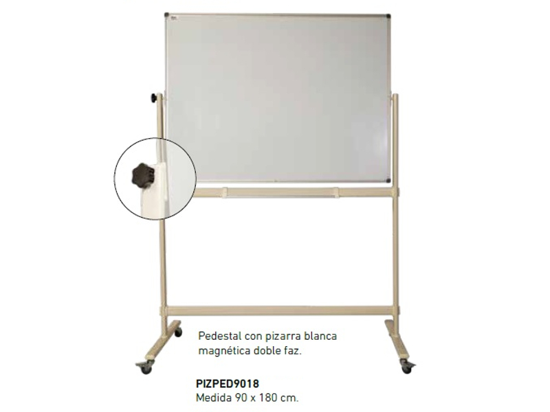 PIZARRA PEDESTAL MAGNETICO DOBLE FAZ 90X180CM