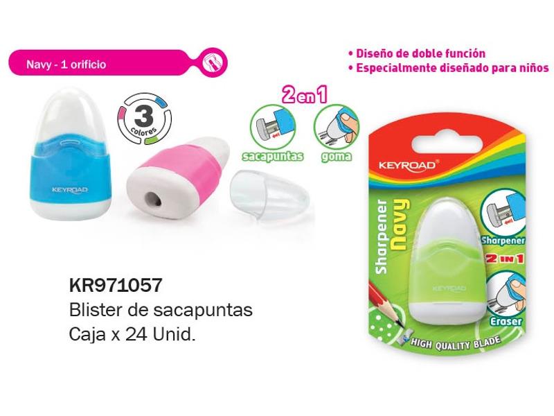 SACAPUNTAS C/GOMA NAVY BLISTER (X24)