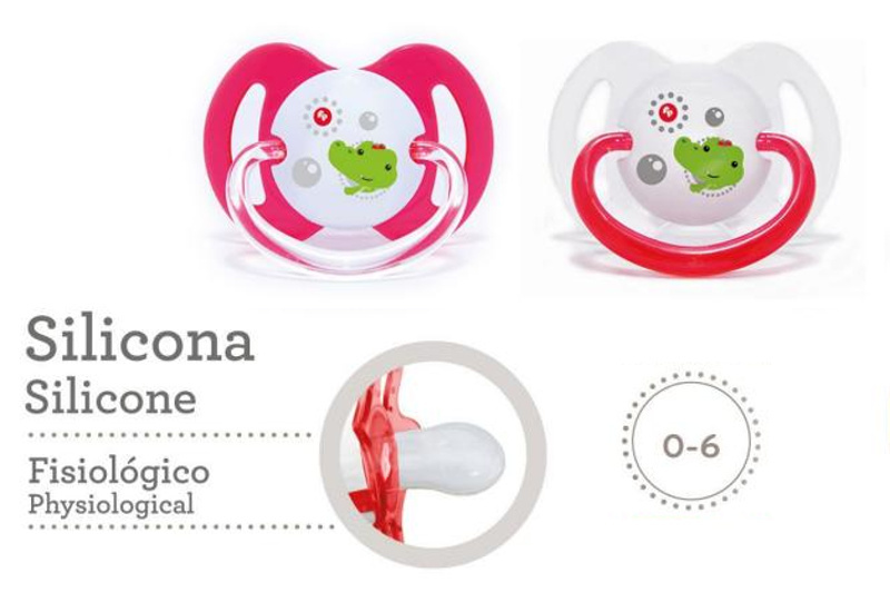 CHUPETES X2 DE SILICONA C/TETINA FISIOLOGICA 0 A 6 MESES LITTLE FRIENDS