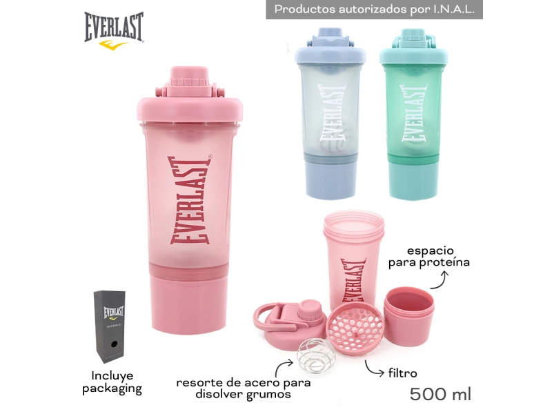 BOTELLA PLAST. 500ML SHAKER EVERLAST 11434
