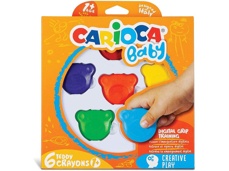 CRAYONES X6 COL. C/FORMA OSO TEDDY CARIOCA BABY  +1