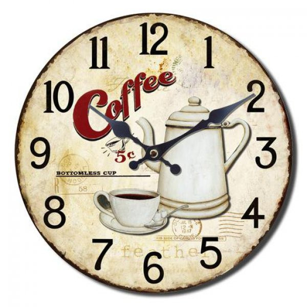 RELOJ D/PARED CIRCULAR 34CM COFFEE
