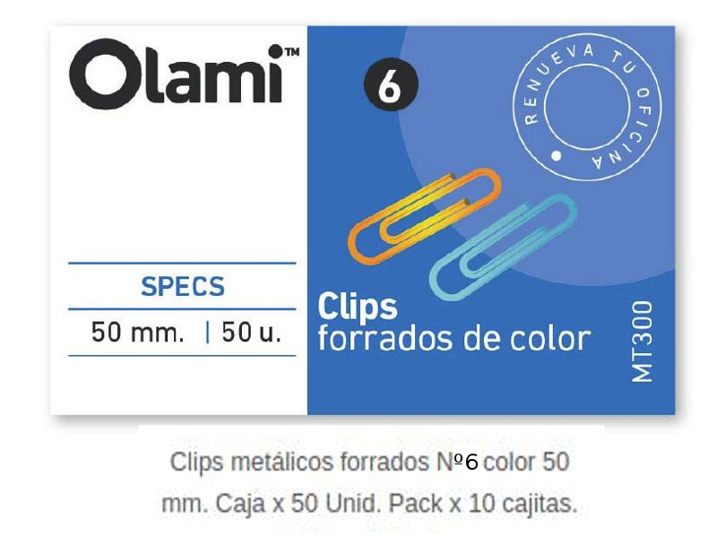 CLIPS METALICO FORRADO X50 Nº6 (x10)