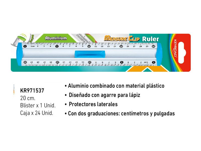 REGLA ALUMINIO 20CM BLISTER X1U. (X24)