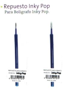 REPUESTO BOLIGRAFO GEL BORRABLE AZUL INKY POP - RX -