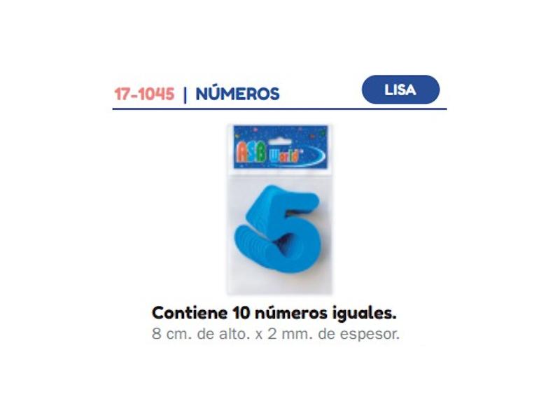 FORMAS DE GOMA EVA NUMEROS LISA SUELTOS X10 8cmX2mm