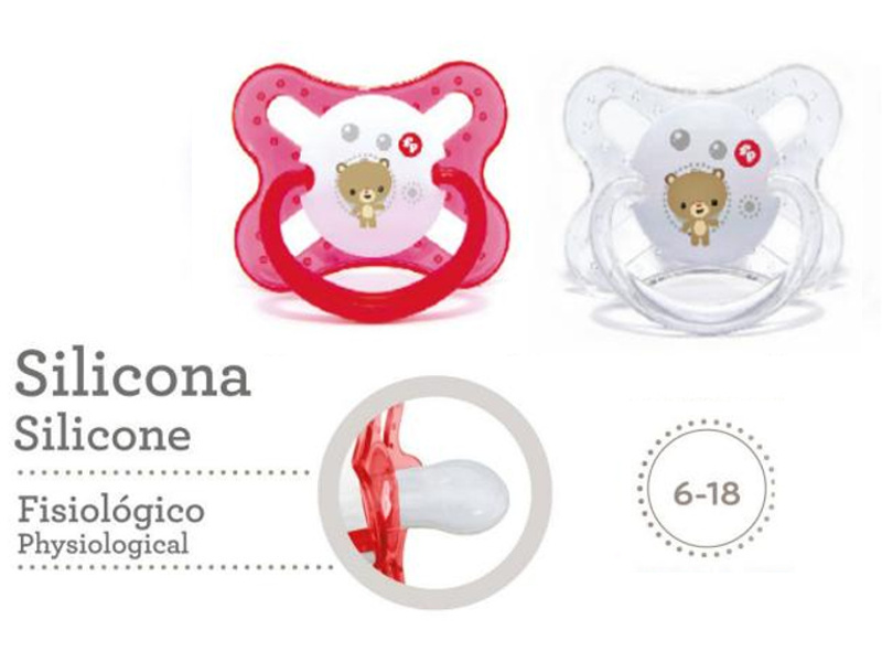CHUPETES X2 DE SILICONA C/TETINA FISIOLOGICA 6 A 18 MESES LITTLE FRIENDS