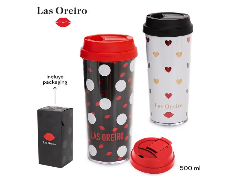 VASO PLAST. C/TAPA CIRCULOS/CORAZONES LAS OREIRO