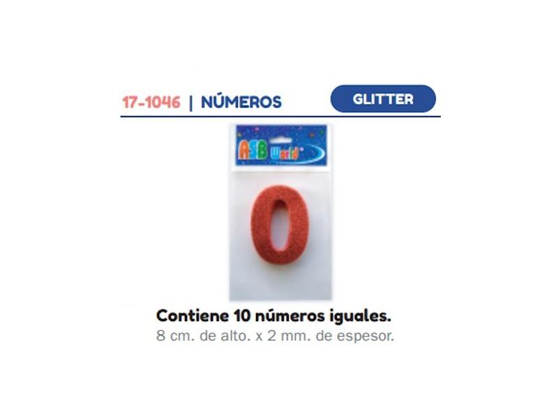 FORMAS DE GOMA EVA NUMEROS SUELTOS C/BRILLO X10 8cm X2m