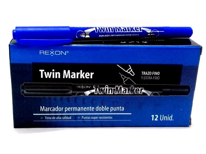 MARCADOR INDELEBLE TWIN MARKER REXON  (X12) - RX -
