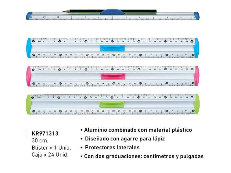 REGLA ALUMINIO 30CM BLISTER X1U. (X24)
