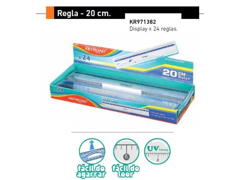 REGLA PLASTICA 20CM DISPLAY (X24)