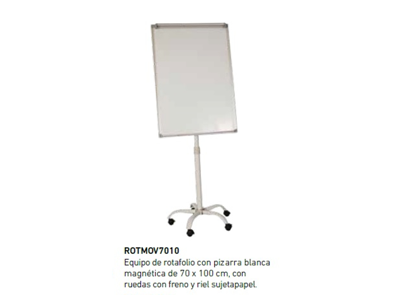 PIZARRA ROTAFOLIO MAGNETICO 70X100CM RUEDAS Y RIEL