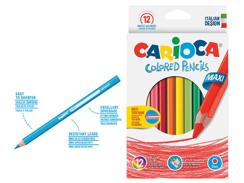 LAPICES DE COLORES X12 COL. MAXI HEXAGONAL CARIOCA