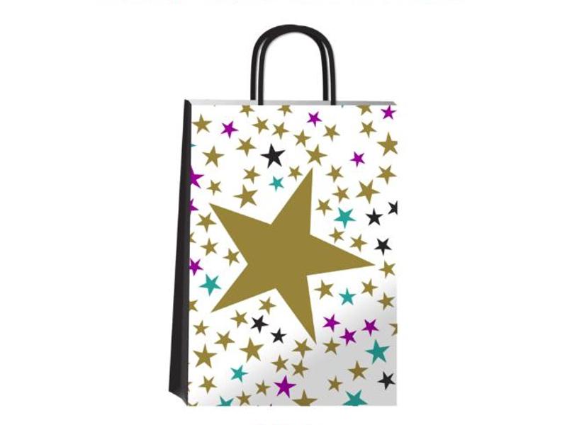 BOLSA C/MANIJA 14X8X20CM GOLD STAR (X12)