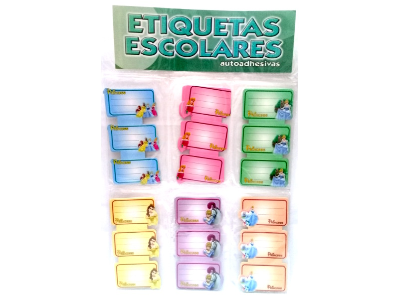 ETIQUETAS AUTOADHESIVA 60P. X3U. PRINCESAS