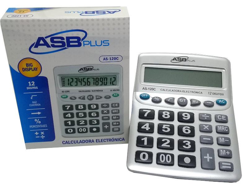 CALCULADORA ASB GRANDE AS-120C PLATA 12DIG. 20,7X16