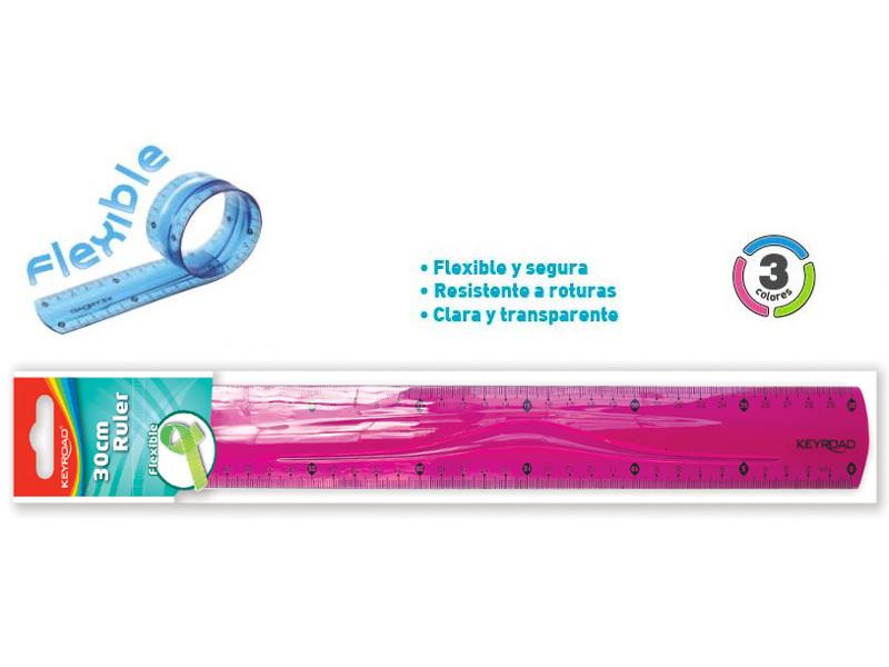 REGLA PLASTICA FLEXIBLE 30CM KEYROAD (X24)