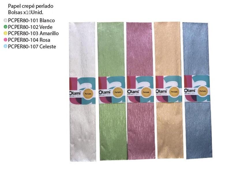 PAPEL CREPE PERLADO MODELOS VARIOS (X10)