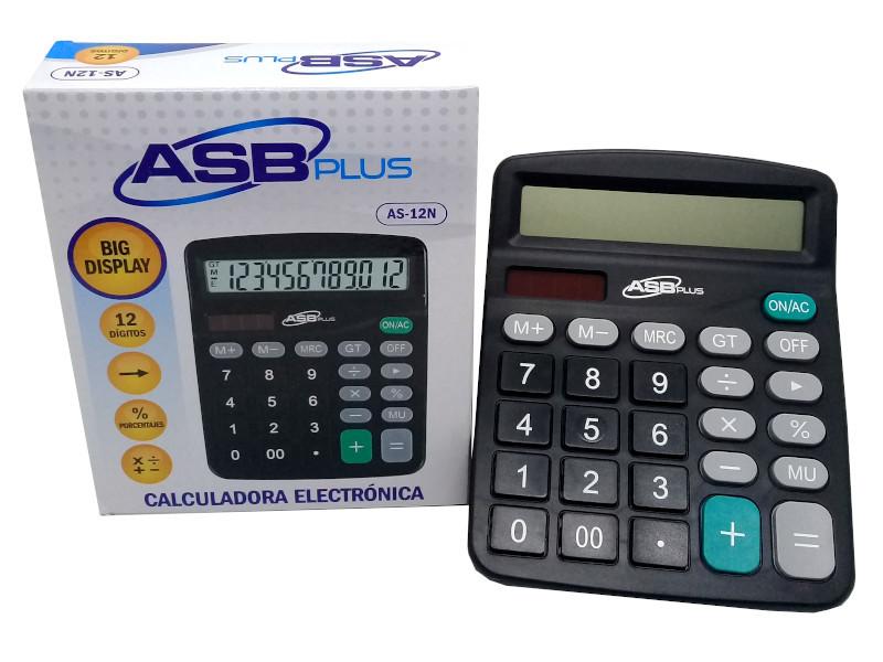 CALCULADORA ASB MEDIANA AS-12N NEGRA 12DIG. 15,5X12